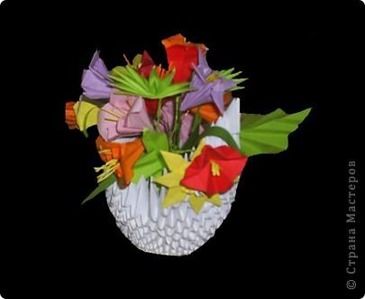 """Популярность модульного оригами набирает обороты. Вот ещё несколько работ на ваш суд.  """"Цветочная композиция"""" фото 6"""