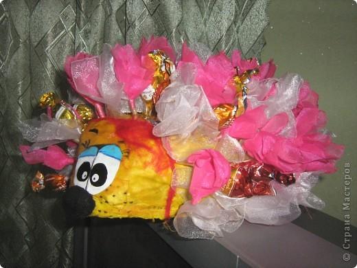 Спасибо Свет9 за понятный МК ёжика http://stranamasterov.ru/node/229835. Соорудила маме на день рожденья. Опыт показал, что конфет надо в 2 раза больше (в процессе съедаются). фото 1