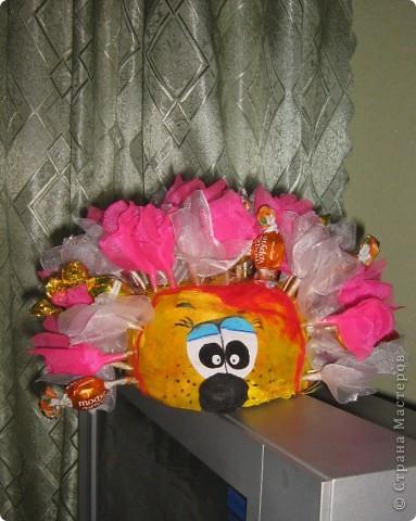 Спасибо Свет9 за понятный МК ёжика http://stranamasterov.ru/node/229835. Соорудила маме на день рожденья. Опыт показал, что конфет надо в 2 раза больше (в процессе съедаются). фото 2