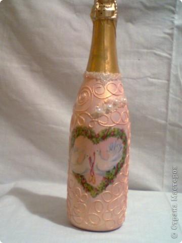 мой первый опыт в декупаже бутылок фото 2