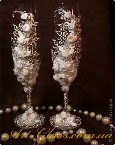 Декор предметов Свадьба Роспись Свадебные бокалы Кружева Краска фото 1