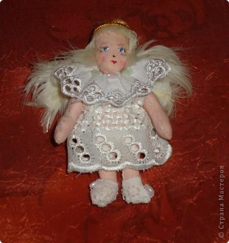 Ангелочек сшит из х/б ткани Рост 8 см Роспись лица-акриловыми красками