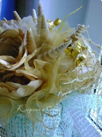 Букет из ракушек-свадебный №2(кремовый)+ бутоньерка фото 8