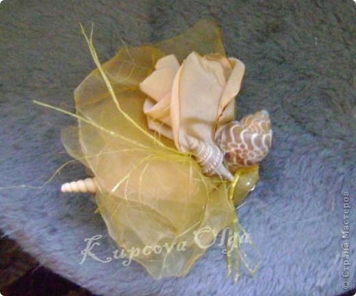Букет из ракушек-свадебный №2(кремовый)+ бутоньерка фото 17