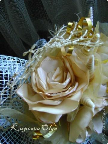 Букет из ракушек-свадебный №2(кремовый)+ бутоньерка фото 6