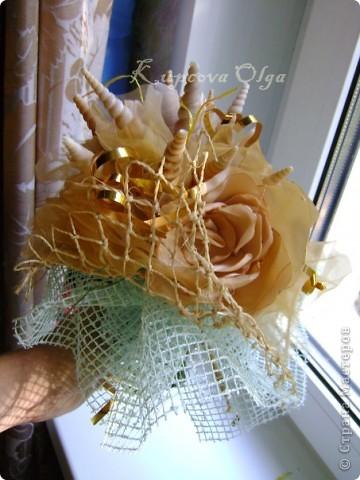 Букет из ракушек-свадебный №2(кремовый)+ бутоньерка фото 11