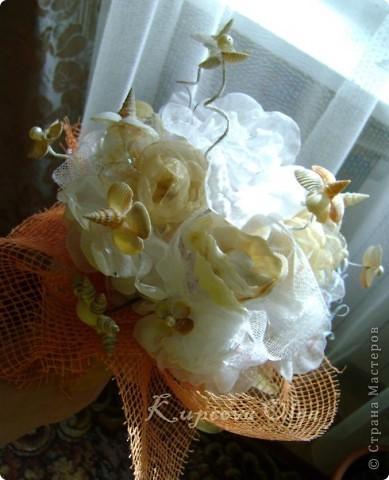 Девочка заказала мне букет из ракушек на свадьбу и вот что у меня получилось фото 8