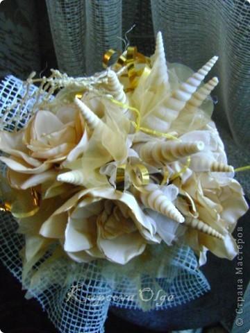 Букет из ракушек-свадебный №2(кремовый)+ бутоньерка фото 1