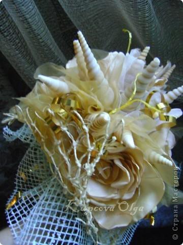 Букет из ракушек-свадебный №2(кремовый)+ бутоньерка фото 9