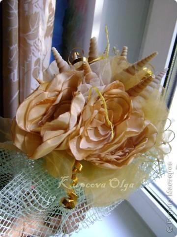 Букет из ракушек-свадебный №2(кремовый)+ бутоньерка фото 10