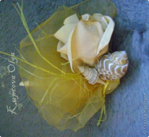 Букет из ракушек-свадебный №2(кремовый)+ бутоньерка фото 15