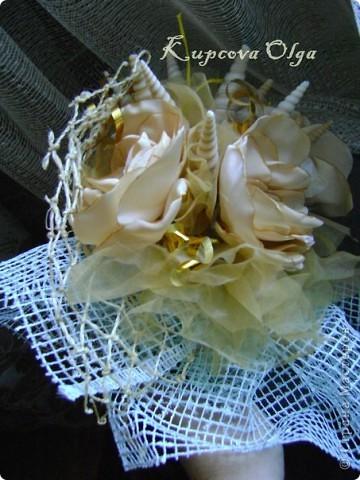 Букет из ракушек-свадебный №2(кремовый)+ бутоньерка фото 12