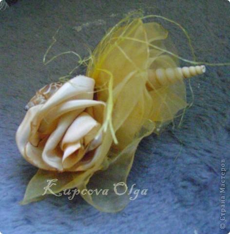 Букет из ракушек-свадебный №2(кремовый)+ бутоньерка фото 18