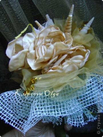 Букет из ракушек-свадебный №2(кремовый)+ бутоньерка фото 14