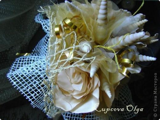 Букет из ракушек-свадебный №2(кремовый)+ бутоньерка фото 13