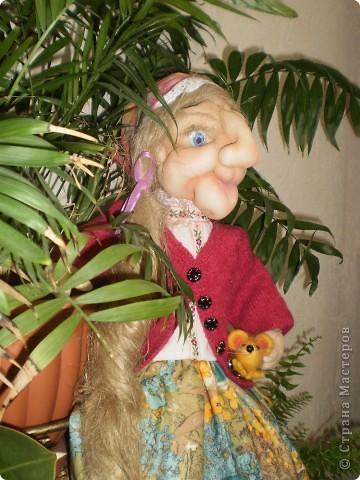 Баба Яга - пакетница. Текстильная скульптура. Сделана по МК Ликмы  фото 4