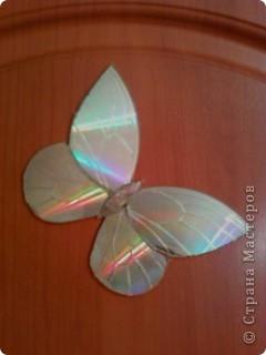 Бабочку и стрекозу я вырезала из дисков горячим ножом. Линии на крылышках сделала тоже ножом. нагревала его на плите.  фото 1
