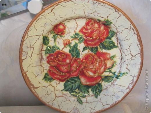моя первая тарелочка с кракелюром Хочу поблагодарить Всех мастериц кто выкладывает свои знания в Стране мастеров. Спасибо Вам большое!!! фото 1
