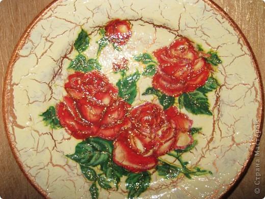 моя первая тарелочка с кракелюром Хочу поблагодарить Всех мастериц кто выкладывает свои знания в Стране мастеров. Спасибо Вам большое!!! фото 3