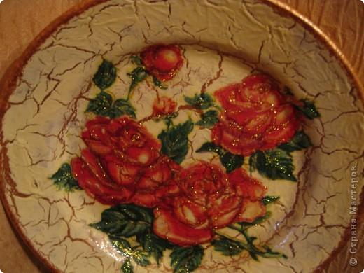 моя первая тарелочка с кракелюром Хочу поблагодарить Всех мастериц кто выкладывает свои знания в Стране мастеров. Спасибо Вам большое!!! фото 5