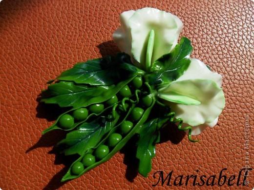 Поделка изделие Лепка Магнит на холодильник Зеленый горох Фарфор холодный фото 9