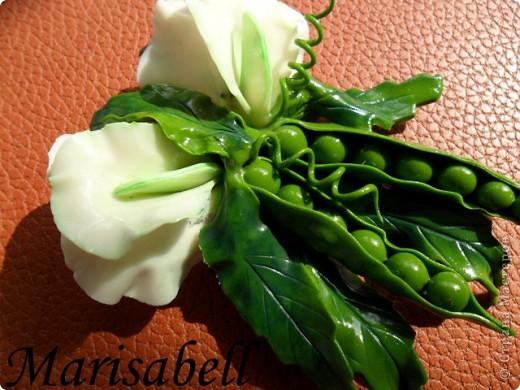 Поделка изделие Лепка Магнит на холодильник Зеленый горох Фарфор холодный фото 2