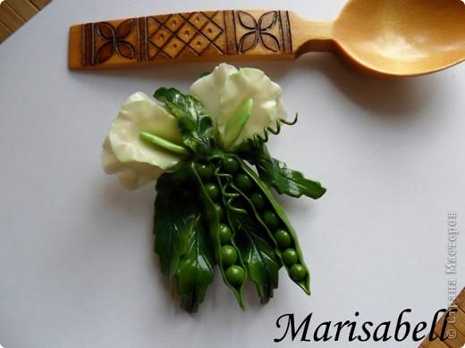 Поделка изделие Лепка Магнит на холодильник Зеленый горох Фарфор холодный фото 7