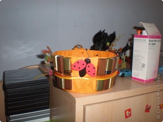 Все материалы,которые использовала для создания своего конфетного букета,приобрела по 10 центов: Это и ленточки,и  пластиковые листочки,и деревянная божья коровка.А сама корзина из под Жевательных резинок(не знаю,как они на русском называются,думаю так же). фото 1