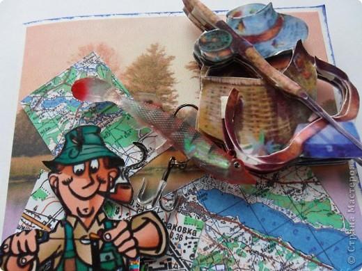 """А эту открытку я соорудила на день рожения хорошему знакомому ,""""больному рыбалкой"""" (впрочем таких большинство)  На кусочках карты я распечатала места, куда он ездит ловить рыбку фото 5"""