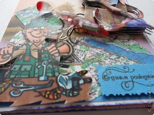 """А эту открытку я соорудила на день рожения хорошему знакомому ,""""больному рыбалкой"""" (впрочем таких большинство)  На кусочках карты я распечатала места, куда он ездит ловить рыбку фото 6"""