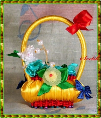 арома-корзинки из мыла и атласных лент фото 2