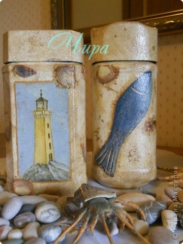 Здравствуйте,уважаемые мастерицы! По приезду с моря захотелось декорировать что-нибудь в морском стиле. Вот начало. Ещё будет бутылка. Она пока в работе. фото 1