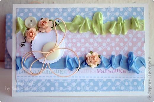 открытки - удивительные малышки )) никогда не устану их мастерить, наверное :) Это - для девочки: фото 7