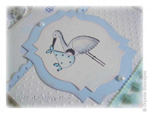 """Я вам еще не надоела? Надеюсь, что нет. Поэтому вот новая порция открыток. Мой любимый шебби. Эта открытка сделана по скетчу от Приморского блога """"Океан идей"""". Вполне характерная для меня открытка, без избыточных украшений.  фото 3"""