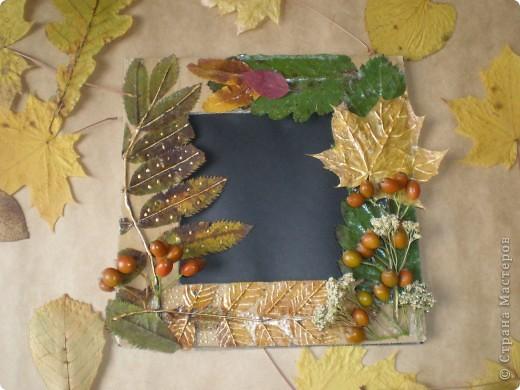Рамка для фотографии, украшенная сухими листьями и ягодами фото 3