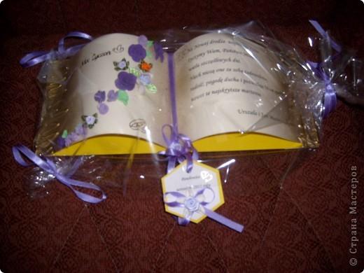 Я использовала цветы из ХФ,горячий клей, ленты. Создала зту открытку в форме книжки - это видно на втором фото. фото 2