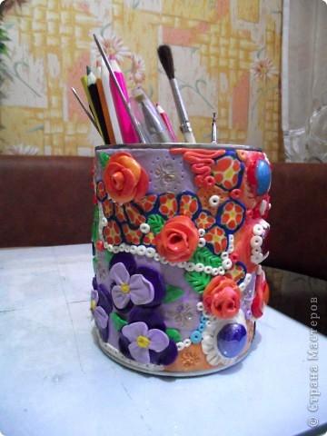 """Облепила банку из под детского питания пластикой """"Цветик""""-это был мой первый опыт работы с пластиком!Такой """"полимерный пэчворк"""" получился))) фото 5"""