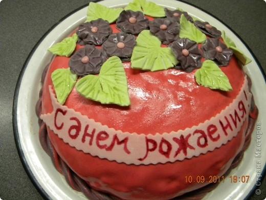 """Спекла для свекрови на День рождения. Внутри """"Шоколад на кипятке"""" крем зефир со сметаной и вишня. фото 1"""