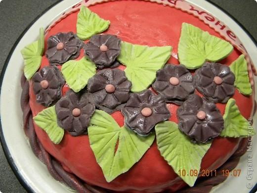 """Спекла для свекрови на День рождения. Внутри """"Шоколад на кипятке"""" крем зефир со сметаной и вишня. фото 3"""