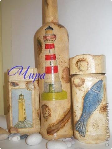 Здравствуйте,уважаемые мастерицы. Показываю обещанную бутылочку к уже показанным недавно баночкам. http://stranamasterov.ru/node/239069/  фото 6