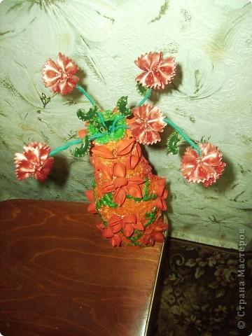 Очередная бутылочка украшенная макаронами фото 2