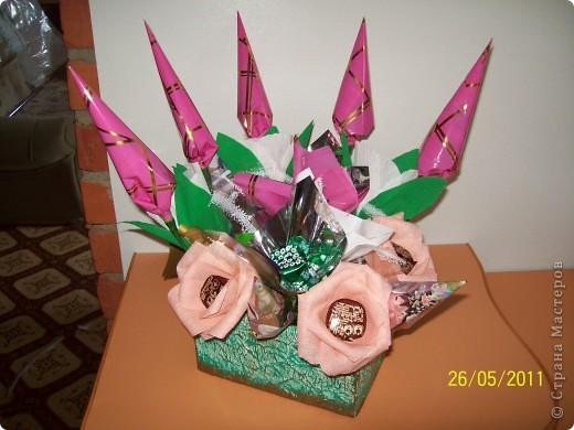 Букет из конфет,сделан на день рождения крестнице. фото 1