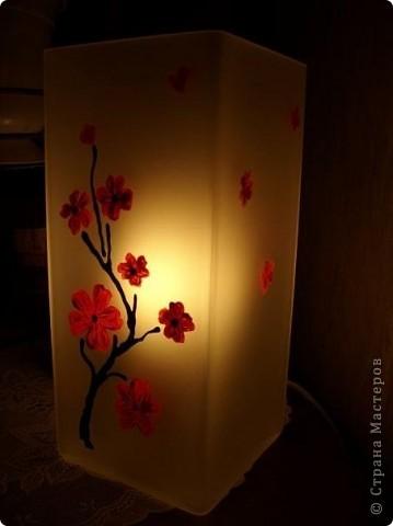 Купили лампу в икее просто белую,а я сделала рисунок и теперь на тумбочах у нас с мужем свой эксклюзивчик=) фото 2