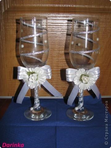 Приветствую всех,кто зашёл в гости!!!  Попросили меня украсить бокалы на свадьбу,и вот что получилось.... фото 1