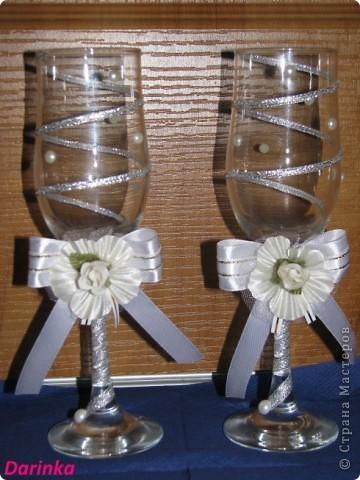 Приветствую всех,кто зашёл в гости!!!  Попросили меня украсить бокалы на свадьбу,и вот что получилось.... фото 2