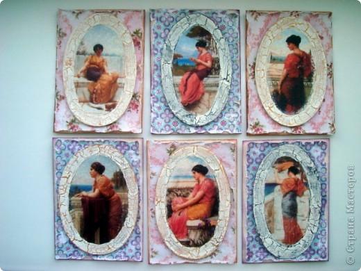"""Вот и завершилась с приходом последних карточек, наша увлекательная и интересная игра, предложенная Олечкой (Олисандра) http://stranamasterov.ru/node/211670 Моя версия карточек на тему """"Греция"""", пыталась создать иллюзию фресок с прекрасными красавицами древней Греции При создании карточек использована: скрап бумага (подарочек Юлечки), распечатки греческих девушек и кракелюрный лак-рамочки Игра мне очень понравилась, надеюсь будет продолжение..... фото 1"""