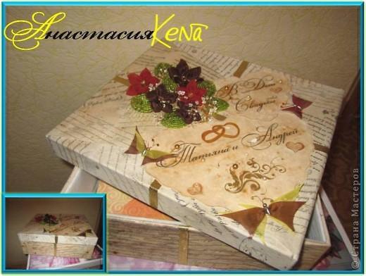 Невеста заказала простую большую коробку. Вообще-то она попросила обклеить коробку бумагой и всё, но я решила ее все-таки украсить. фото 1
