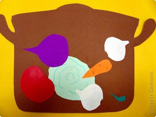 Осень - пора урожая.   Традиционная тема овощей прошлась по нам вот в такой аппликации.  фото 2