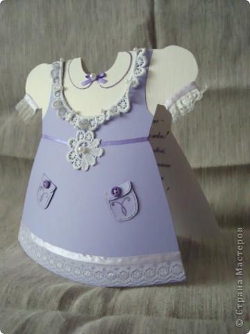был заказ придумать что-то интересное на рождение девочки - путем долгих изысканий получилось вот такое платье-открытка