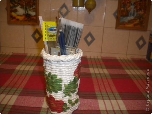 этот стаканчик я сплела для хранения инструмсентов для плетения( ножниц,спиц,кисточек) фото 3